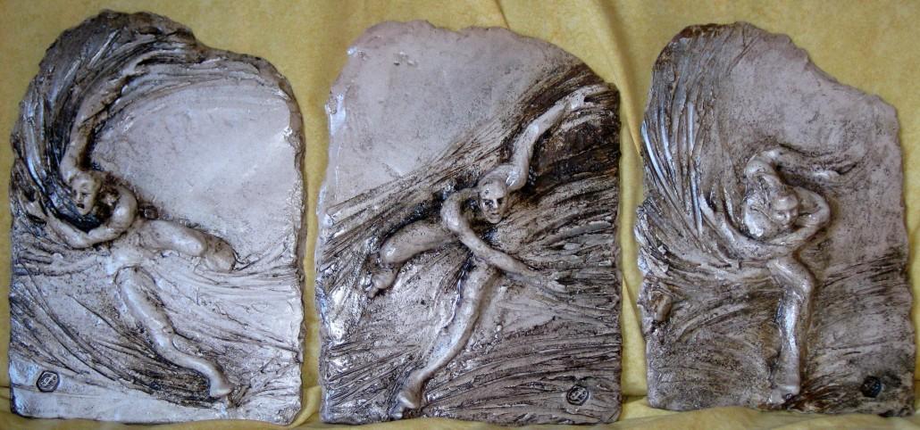 Relleu-tríptic de gres esmaltat (xxxx).