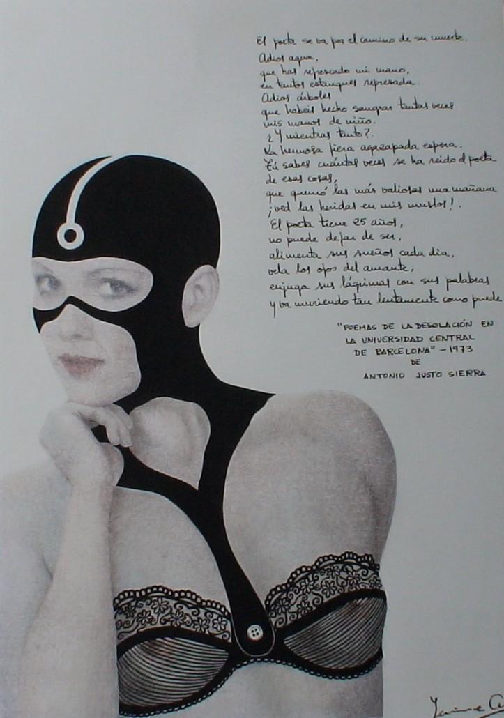 """Transferència sobre paper i tinta (xxxx). Inclou poema del llibre """"Poemas de la desolación en la Universidad Central de Barcelona""""."""