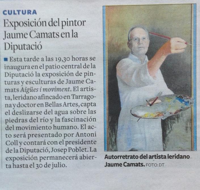 Noticia de l'exposició publicada al Diari de Tarragona el 16-6-17.