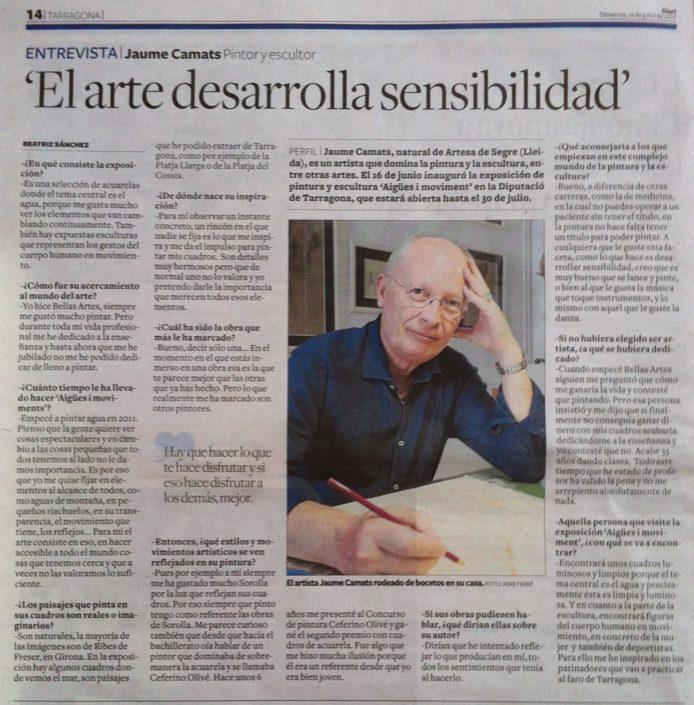 Entrevista publicada al Diari de Tarragona el 12-7-17.