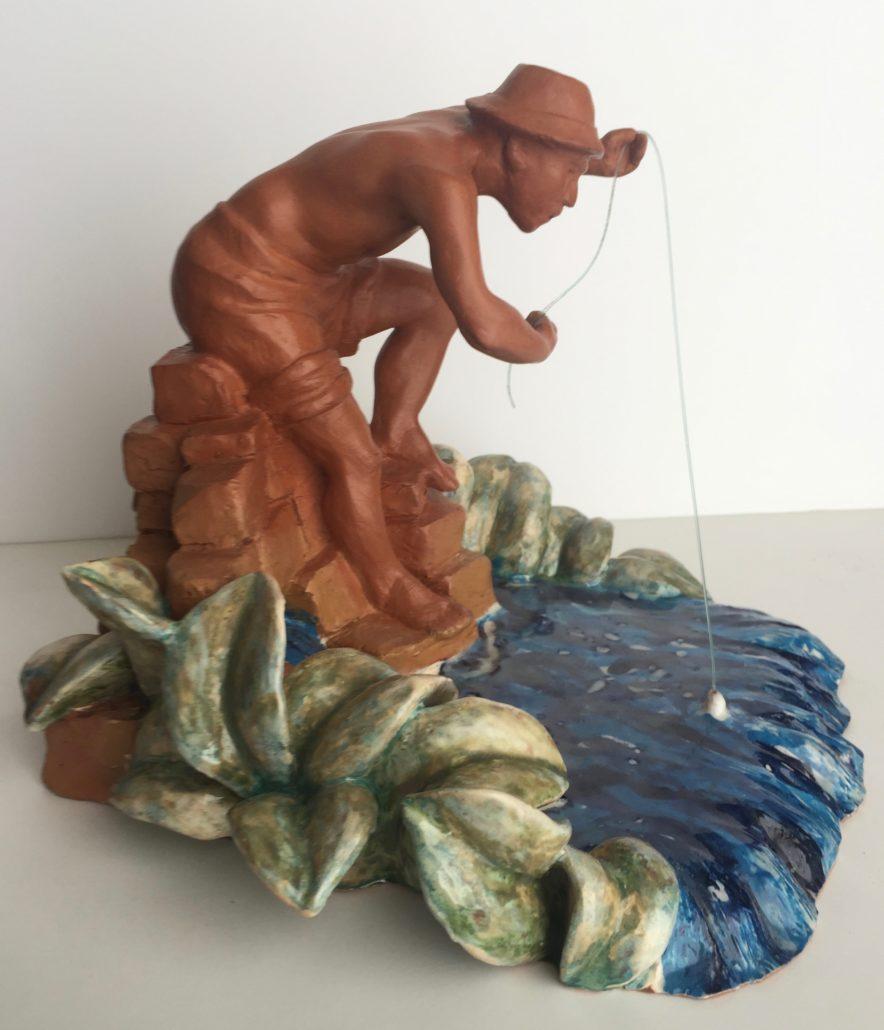 Terracuita amb pàtina de cera i esmalts (20x25x25). Propietat de Diego Porras.