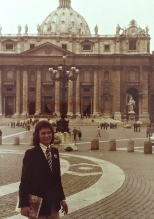 Durant el viatge a Roma durant la carrera.