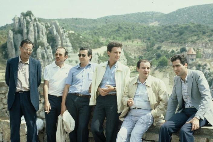 De esquerra a dreta: Pascual Albás, Joan Janariz, Ricard Avilés, Jaume Camats, Frederic Gómez i Miquel Cortada. Foto feta per Lluís Foix.