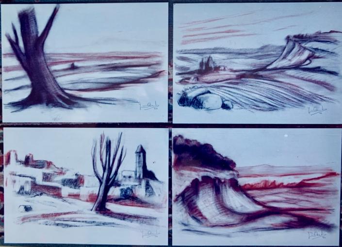 Dibuixos a sanguina (xxxxx). Propietat d' Eusebi Miralles.